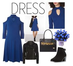 """""""Choker Dress - biker jacket"""" by shistyle ❤ liked on Polyvore featuring Dorothy Perkins, Head Over Heels by Dune, plussizefashion and chokerdress"""