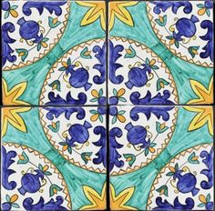 "Mattonaccio tile ceramic - Afrodite - | Touch of Sicily -Typical ""Mattonaccio"" tiles typically made by hand, with a depth greater than normal tiles. The shape and the surface are ""not perfect"", their own diversity and uniqueness is the key feature. The artist takes inspiration from patterns and décors taken from ancient Sicilian churches and villas."