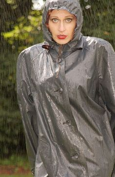 Grey Rubber Hooded Raincoat
