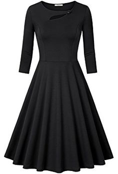 Bebonnie Women's 3/4 Sleeve Elegant Chic Bodycon Formal Dress(Size Runs Small,Suggest Choose One Size Larger)