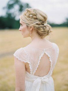 Crown braided chignon: http://www.stylemepretty.com/australia-weddings/western-australia-au/perth/2015/03/19/intimate-perth-wheatfield-wedding/ | Photography: Katie Grant - http://www.katiegrantphoto.com/