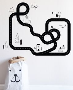 """Road Map - Die Cut Decal - WALL DECAL Entire Design measures 50""""w x 40""""h Fully removable and reusable wall decals that will brighten and add character to any room. **PLEASE NOTE THAT METALLIC VINYL IS"""