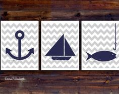 Kids art print Nautical nursery Poster Baby boys room decor Navy blue Gray Modern Chevron print Boat anchor art Sailboat Children wall decor
