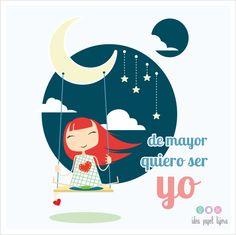 ilustración, dibujo, niña, idea papel tijera, luna