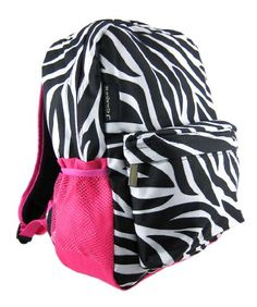 Zebra Print Backpack w Hot Pink Trim Pocket ** Check this awesome product by going to the link at the image. Cute Backpacks, Girl Backpacks, School Backpacks, Zebra Print, Stripe Print, Animal Bag, Striped Backpack, Backpack For Teens, School Supplies