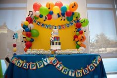Music notes on rainbow balloons Music Theme Birthday, Magic Birthday, Music Themed Parties, Happy Birthday Signs, 1 Year Old Birthday Party, Boys First Birthday Party Ideas, 1st Boy Birthday, Boy Birthday Parties, Banners Music