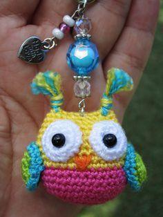Crochet Olw Amigurumi Keyring, Dios Mio esta muy hermosos quiero 20 de estos ;)