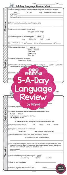 36 weeks of daily Common Core language review for 4th grade! 5-A-Day: 5 tasks a day, M-Th. CCSS L.4.1-L.4.6 Also available for 5th and 6th grades!$
