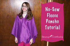 No-Sew Fleece Poncho Tutorial