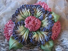 Ruched French Ombre Vintage Style Millinery Flower Pin Corsage / Hat; handmade by grandmasflowergarden2010 ; ebay; $17.99