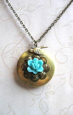 Blue flower locket necklace brass locket vintage