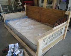 swing made from doors shutters, twin mattress, trim, etc.   directions for building the swing - Houzz