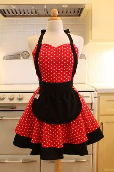 Apron French Maid Red and White Polka Dot with Black by Boojiboo, $38.75