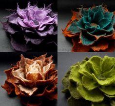 Wet felting  http://www.etsy.com/listing/90451649/any-4-felt-flower-brooches