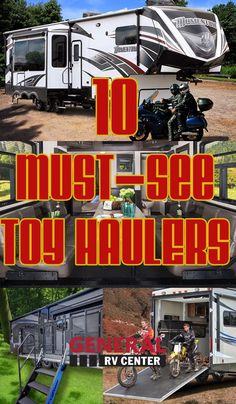 Garage area to RVs w/ ramp door for easy on & off. The Toy Hauler is brought to life. Our picks of hottest must-see toy haulers Toy Haulers For Sale, Toy Hauler Trailers, Toy Hauler Camper, Toy Hauler Travel Trailer, Travel Trailers, Camping Trailers, Fifth Wheel Toy Haulers, Fifth Wheel Campers, Cargo Trailer Conversion
