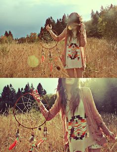 Dreamcatcher + Ikat Printed Shirt + Oversized Sweater + Wheat Field = <3