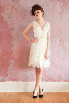 Short vintage style wedding dress of soft lace -- really liking the shorter styles right now...