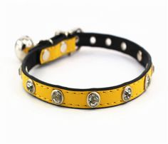 Adjustable cat Dog Cat NAPPA PU leather Rhinestone Necklace With Sliver Small Bell * You can get more details here : Cat Collar, Harness and Leash