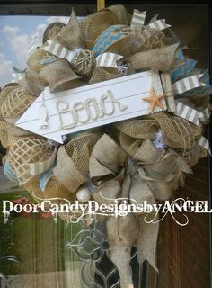 Rustic BEACH themed Wreath with Burlap Jute by DoorCandyDesigns, $74.99