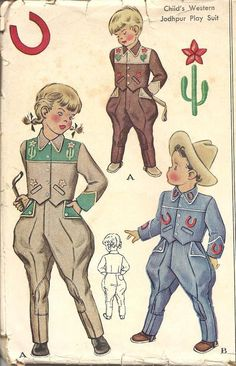 McCall 1519 Boys Girls Western Playsuit Pattern Tapered Ankle Jodphurs Jacket Costume Toddlers Vintage Sewing Pattern Size 4 or 2 Childrens Sewing Patterns, Mccalls Patterns, Doll Clothes Patterns, Vintage Sewing Patterns, Clothing Patterns, Western Costumes, Cowgirl Costume, Cowgirl Outfits, Vintage Western Wear