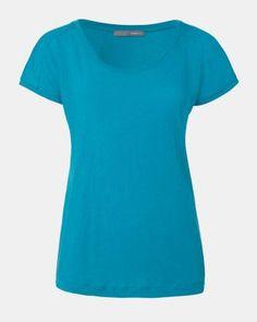 SCOOP NECK COLOURED TEE - Cotton + Linen = I want! Cotton Linen, Scoop Neck, Short Sleeve Dresses, Tees, Color, Clothes, Women, Fashion, Cotton Sheets