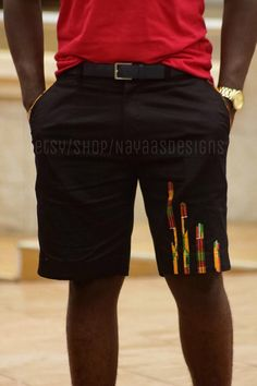 Kente & black men's fashion shorts African by NayaasDesigns African Shirts For Men, African Dresses Men, African Attire For Men, African Clothing For Men, Latest African Fashion Dresses, African Print Fashion, African Wear, Black Mens Fashion Shorts, Black Shorts