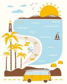 Goin' to the Beach Hand Printed Silkscreen by HeroDesignStudio