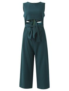 Description:     Sleeve Length:Sleeveless   Neckline:O-neck   Color:  Green   Style:Sexy   Length:Long   Material:Polyester      Package included:  1*Jumpsuits