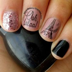 Born Pretty Store plate BP-36, Sinful Colors Black on Black, Essie's Lady Like and A Cut Above