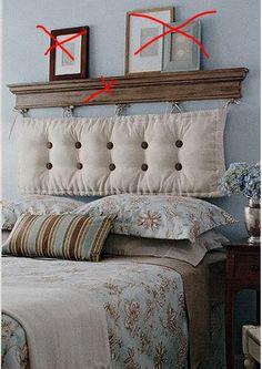 Attractive DIY Shelf And Cushion Headboard.Love How Rustic This Looks By SAburns