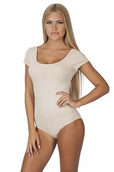 689ae092e24 Short-Sleeve Scoop Neck Snap Crotch Leotard (Small, Beige) Tankini Swimsuits  For