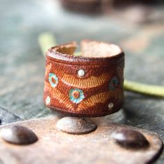 Gypsy Leather Ring with Sterling Silver Scales - Leather Ring with Sterling Silver Details