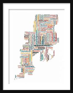 Tampa Map Typography Map Color 11 x 14 by ParisPhotoShop on Etsy, $12.95
