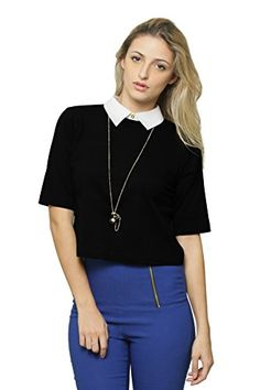 b6cb646b037693 Miss Chase Women s Black Cotton Collared Half Sleeve Back Slit Crop Top