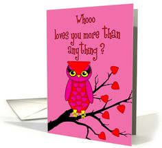 Mother Valentine's Day Owl in Tree with Heart Leaves card