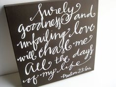 Scripture Art on Canvas // Hand Lettered Bible Verse Decor. $55.00, via Etsy.