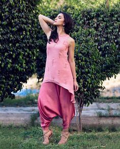 asymmetric top and cowl pants #k_anshika