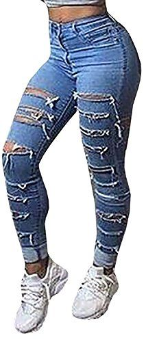 Women's Jeans - Baifern Womens Ripped Washed Hole Denim Long Jeans >>> Want to know more, click on the image. (This is an Amazon affiliate link)