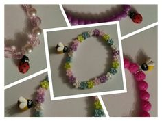Children's bracelets,  spring bugs Made by Marina facebook.com/madebmarina Bugs, Facebook, Spring, Bracelets, Ideas, Bangles, Bracelet, Beetle, Arm Bracelets