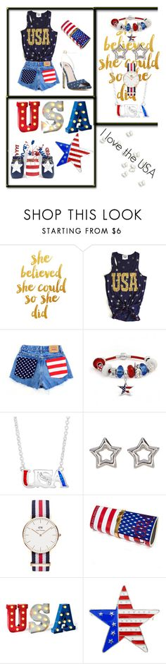 """USA"" by cecilvenekamp ❤ liked on Polyvore featuring WALL, Bling Jewelry, Shashi, Daniel Wellington and Papà Razzi"