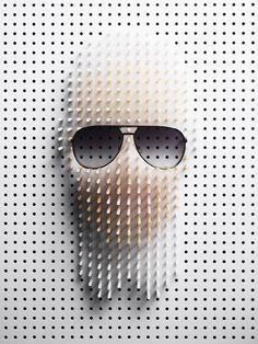 Amazing pin art featuring Karl Lagerfeld by Philip Karlberg.