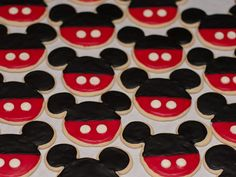Mickey shaped cookies- black, red & white icing