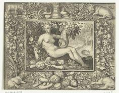 Nicolaes de Bruyn, after Maerten de Vos. Element aarde als naakte vrouw met hoorn des overvloeds (Terra, and De vier elementen). Engraving, 1581 - 1656, Rijksmuseum