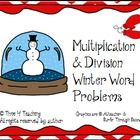 Students need lots of practice with word problems! These 20 winter-themed word problems will give your students the opportunity to practice their one-step multiplication and division problem-solving strategies.  $