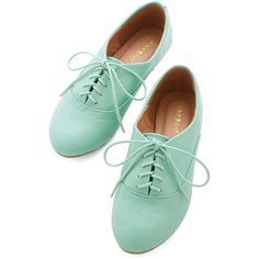 Pastel Everyday Adorable Flat ($33) ❤ liked on Polyvore featuring shoes, flats, mint, flat, oxfords, oxford flat, lace up shoes, mint shoes, oxford flat shoes and mint flat shoes