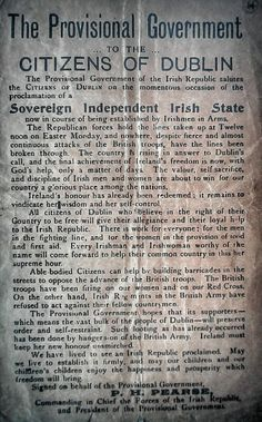 1916 notice to the citizens of Dublin.