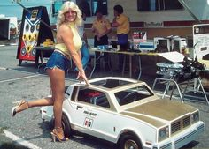 "The ""First Lady of Motorsports"" Linda Vaughn wants you to go with her for a ride in her Hurst-Olds go-kart.  The year is 1979."