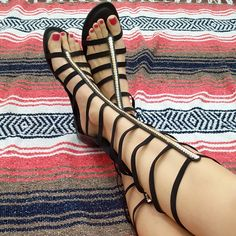 With this ultra comfy pair of flat gladiator sandals you'll be on your way to ruling the world and 'Building' your 'Empire.' The sandals feature a cushioned insole, zipper back and elastic caged desig Suede Shoes, Loafer Shoes, Shoes Sandals, Sexy Sandals, Flats, Summer Sandals, Girl Fashion Style, Fashion Shoes, Ladies Fashion