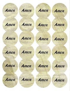 Amen Nature Cream Sticker, 24 Stickers, Digital Round Images 1 2/3 inch circle, Amen Series for Planner, Jewelry, Scrapbooking and Crafts by TiStephani on Etsy