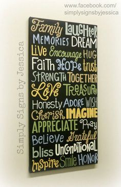 Family word collage canvas painting by SimplySignsByJess on Etsy, $55.00
